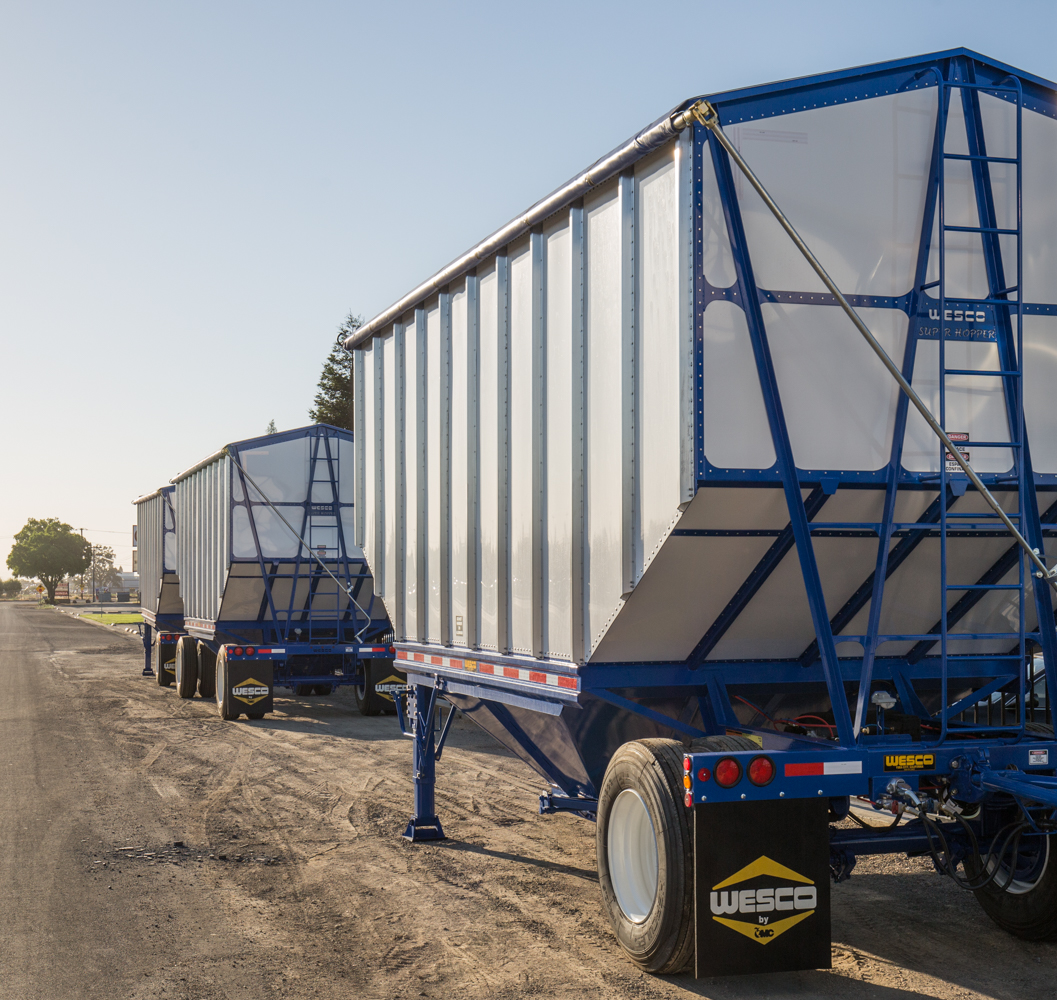 Blue trailers on a road
