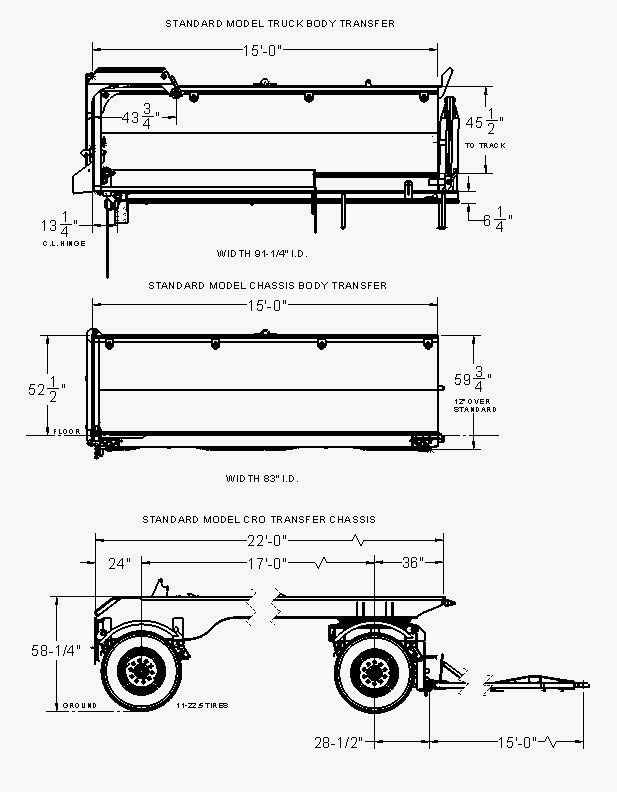 engineering drawing for a transfer trailer set and chassis