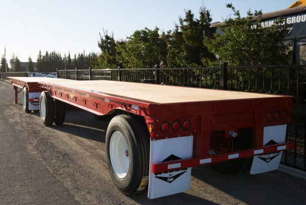 red flatbed trailer